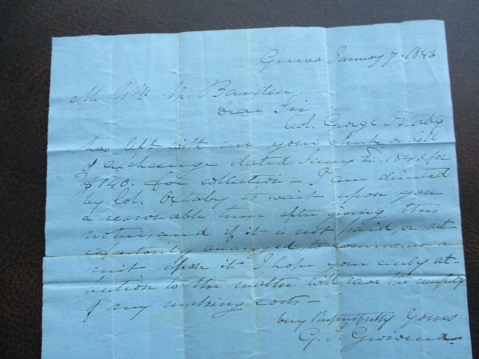 1843 Col. Oxtoby Benton,New York Signed G.Grovenor To Wm. Barden Stampless Cover - $19.99