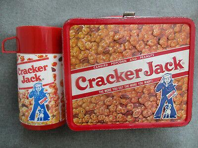 VINTAGE 1970s CRACKER JACK ALADDIN METAL LUNCH BOX w PLASTIC THERMOS BOTTLE
