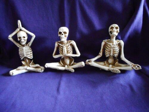 Halloween Yoga Pose Skeleton Figurines, Set of 3