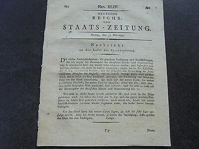 1799 Staatszeitung s685 / Esslingen Warnung an Bürger / Schweden König Schreiben