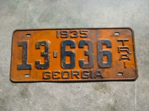 Georgia 1935 TRAI license plate #  13 - 636