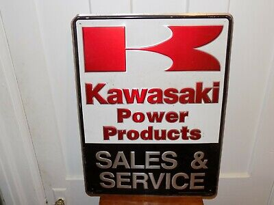 Vintage Kawasaki Power Products Sales and Service Embossed Aluminum Sign