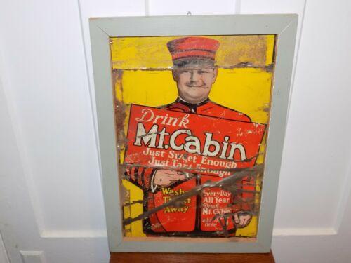 Vintage Drink Mt. Cabin Beverage Metal Sign in wood frame