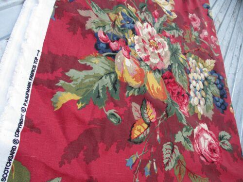 "P. Kaufmann Queensland Crimson 7 1/2 yds Floral Fruit Fabric Upholstery 56"" Wide"