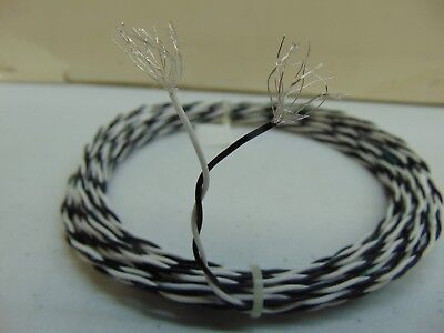 10 Feet 22 Awg Silver Plated Ptfe Wire Twisted Pair 19 Strands White Black Spc