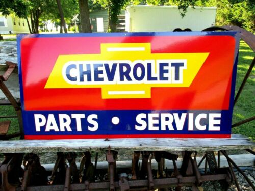 "Vintage Metal Chevy CHEVROLET USED CARS Truck Gas Oil 18x36"" Hand Painted Sign R"