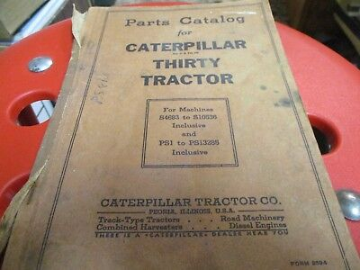Caterpillar Thirty Tractor Parts Catalog Sn Ps1 To Ps13285