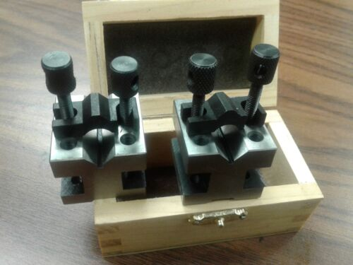 "1-3/8x1-3/8x1-3/16"" PRECISION V-BLOCK PAIR W. CLAMPS #706A-755"