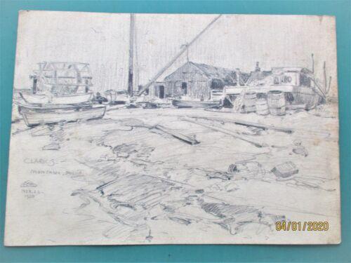 W. GRANDVILLE-SMITH  ORIGINAL PENCIL DRAWING  MONTAUK POINT HARBOR 1930  SIGNED
