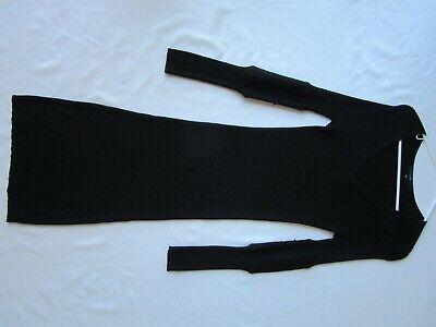 Vtg GUCCI Long Black Sheer Fleece Wool Maxi Sweater DRESS Stretch Womens M Italy