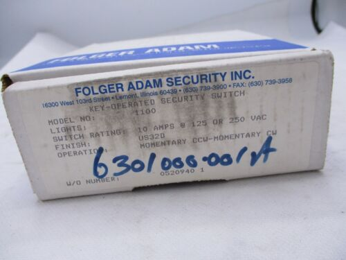 NEW FOLGER ADAM MODEL 1100 TIME DELAY CYLINDER KEY SECURITY SWITCH