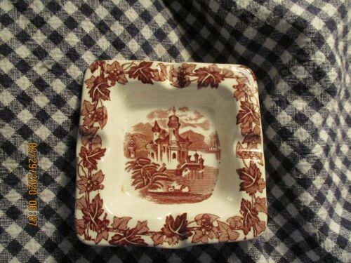 "Maling- ""Castle-On-Tyne""-Brown Transfer Ware-4"" Square Ashtray"