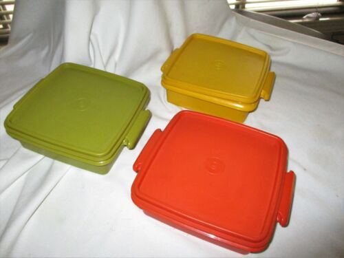 3 Tupperware Square Away Sandwich Keepers Orange, Avocado Green Yellow Lids 1363