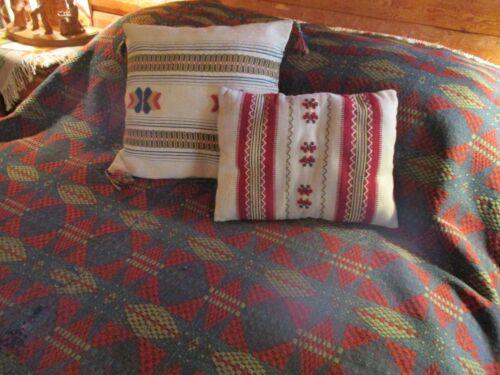 Antique Scandinavian Jaquard Style Coverlet Red/Green/Blue 76