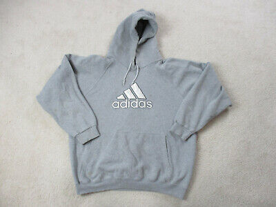 VINTAGE Adidas Sweater Adult Large Gray Silver Spell Out Hoodie Hooded Mens 90s*