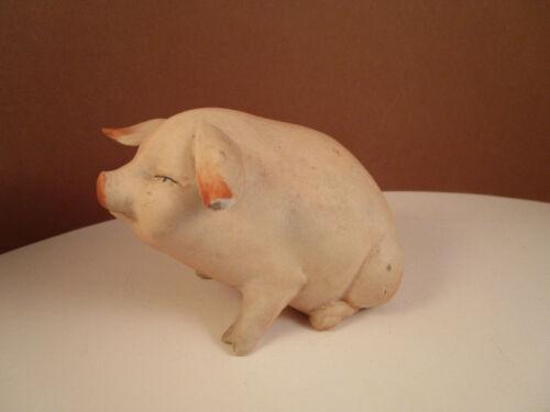 Vintage Unmarked Bisque Porcelain Pig Piglet Figurine