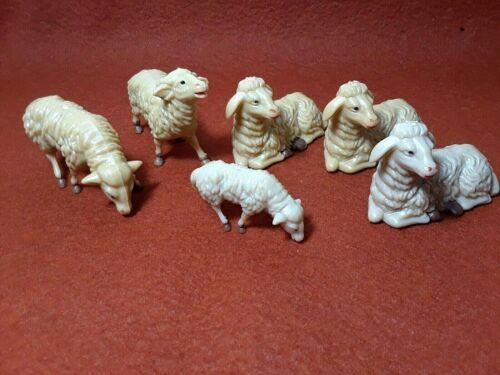 5 Vintage Christmas Nativity Sheep Lamb Hard Plastic Figures Unbranded