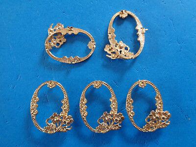 5 Broschen Rohware ohne Rückwand gold Schleuderguß 45 x 35 mm Kostüm Dekoration