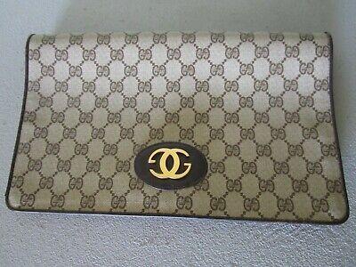 Vintage Gucci Large Canvas GG Monogram Leather Trim Fold Over Clutch