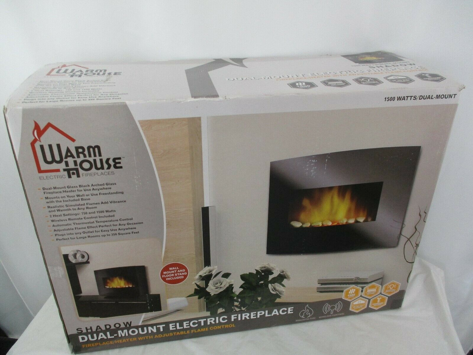 Warm House Dual-Mount Electric Fireplace Heater With Remote 4998