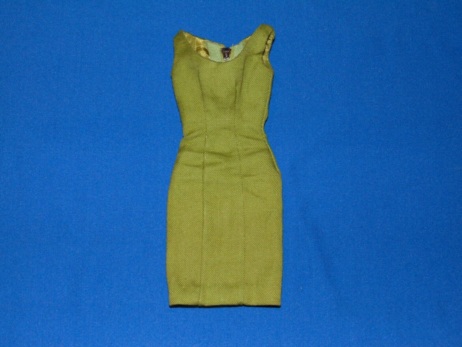 VINTAGE BARBIE POODLE PARADE DRESS 1643 OLIVE GREEN SHEATH DRESS - $19.95