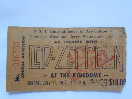 Led Zepplin concert stub from Seattle 1977