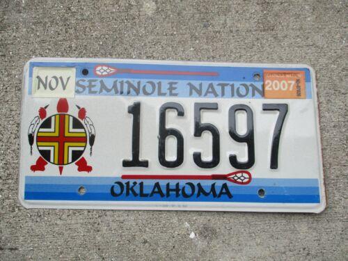 Oklahoma 2007 Seminole Nation  license plate  #    16597