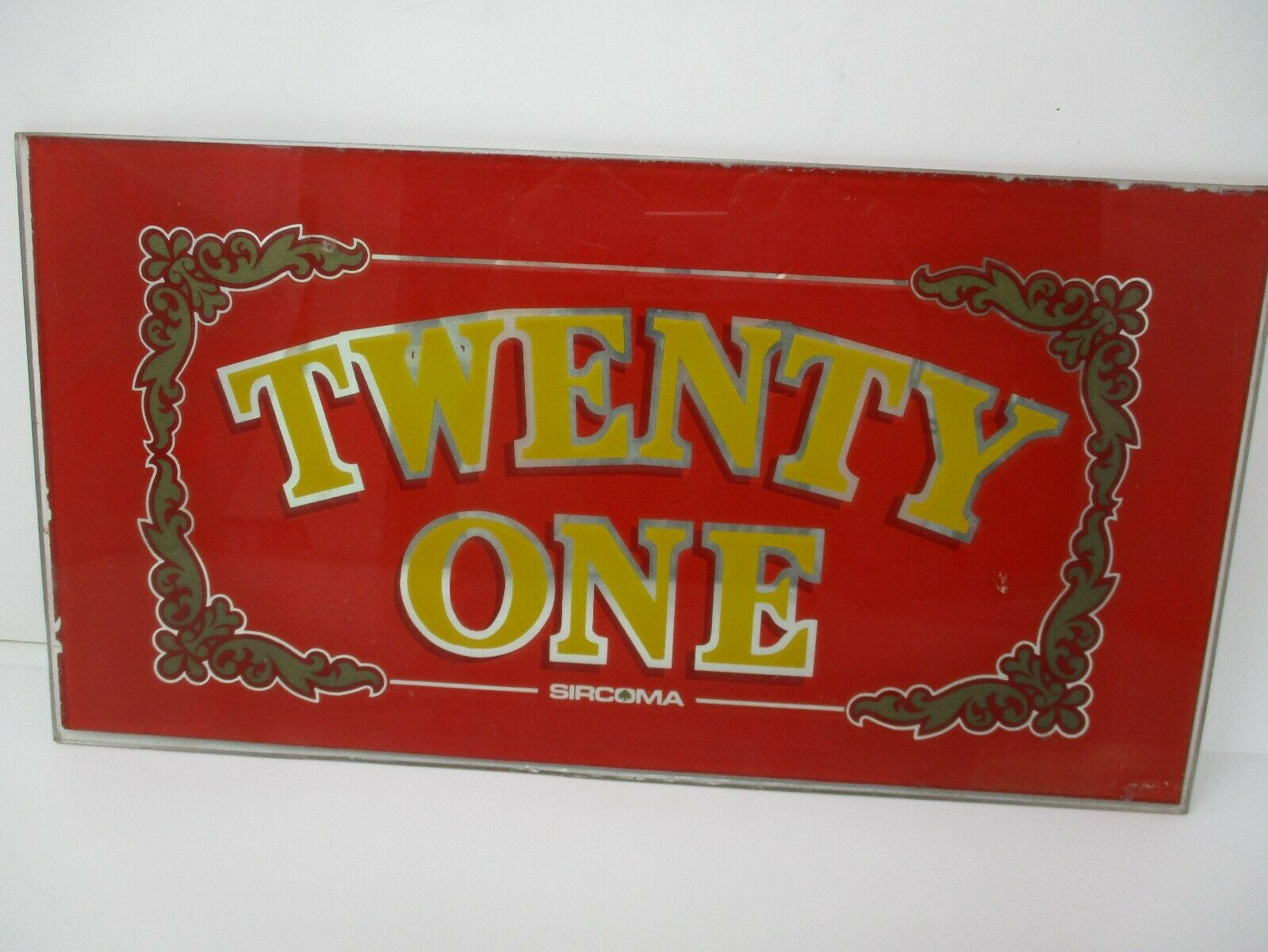 Twenty One Sircoma Retired Atlantic City Glass Slot Machine Front Face Plate