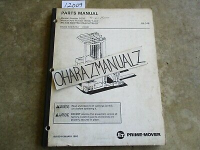 Prime Mover Forklift Rr-34b Electric Reach Truck Parts Manual