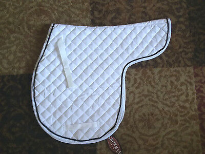 WHITE Cotton Quilted ALL PURPOSE A/P Contoured English Saddle Pad