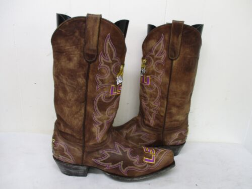 Gameday, Boots, Distressed, Brown, Leather, LSU, Cowboy, Boots, Size, 9.5, D, Style, 0412
