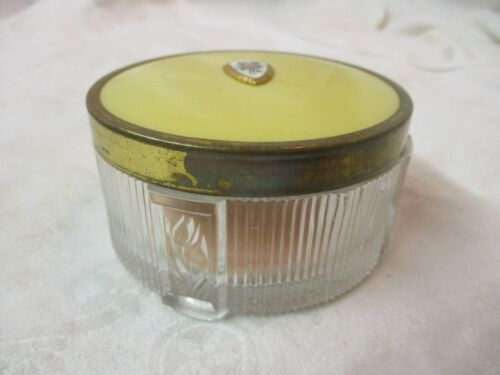Vintage glass & brass Powder Jar with Guilloche Enamel Rose Emblem