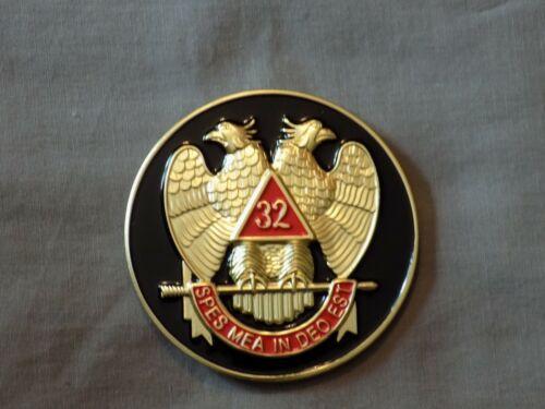 "Masonic 3"" Car Emblem 32nd Degree Scottish Rite Double Eagle Metal Freemason NEW"