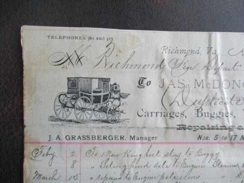 1895 Richmond,Virginia Wagon,Firehouse Engine Steamer,PICTURE,PRICE letterheads!