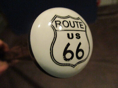 MW.734M: ROUTE 66 US TOP - ON ASH WOOD SHAFT WALKING STICK CANE