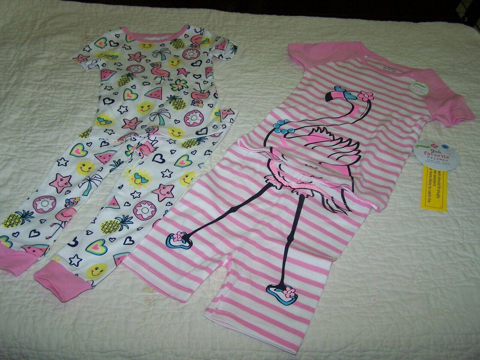 2 Pair~Girls Size 7~Pajamas~Tight fit~Cotton~PINK FLAMINGOS~