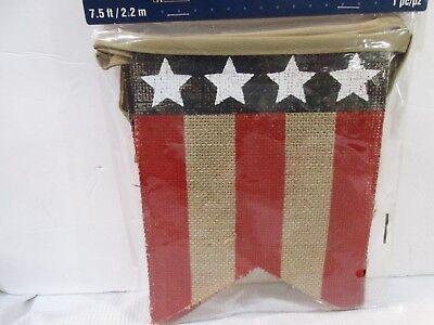 Americana 4th of July Patriotic Flag Burlap Banner Decoration Decor 7.5FT