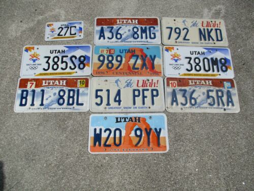 10 Utah license plate lot for collecting or craft # 1