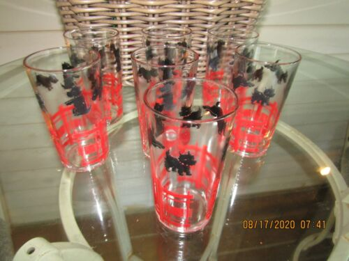 7 VTG FEDERAL SCOTTIE DOG DRINKING GLASSES TERRIER