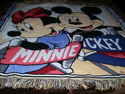"DISNEY Mickey Mouse Minnie Woven Tapestry Throw Blanket Fringe 58""x 53 Vintage"