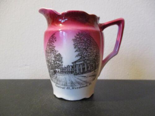 Circa 1910 Souvenir Porcelain Creamer Central Street Woodstock Vermont Germany