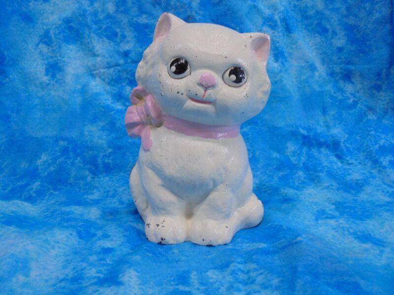 "Vintage Hubley Cast Iron Cat Bank Pink Bow 5"" tall Kitten 1930"