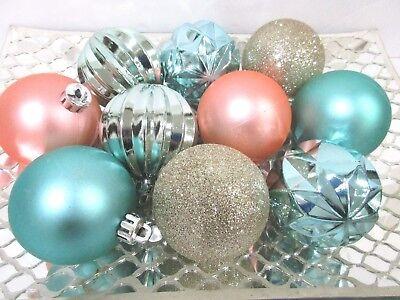 10 Coastal Beach Nautical Christmas Peach Aqua Glitter Ball Ornaments 2.5