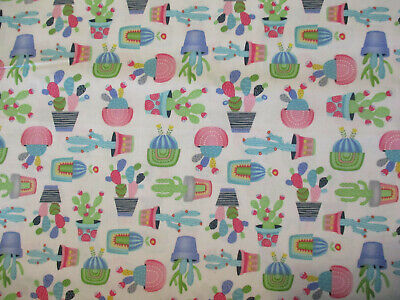 Cacti Southwestern Cactus Plants Pastel Colors Cotton Fabric BTHY for sale  Shipping to India