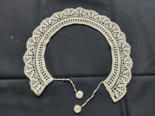 Antique Beautiful Vintage Handmade Crocheted Lace Collar 100% Cotton White