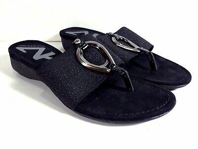 Anne Klein Sport Thong Sandals Womens Size  6M Black SKU S10