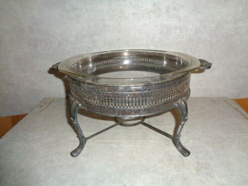 SHEFFIELD SILVER PLATE 19 INCH CASSEROLE WARMING STAND WITH PYREX DISH