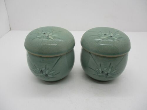 2 Korean Celadon Tea Cups With Lids and Infusers With Flowers ~ Vintage