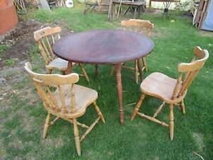 Old Solid Timber 4 Seat Cottage Dining Setting