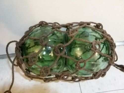 Vintage Binary Double Ball Ocean Fishing Float w/ Seam Net Clear Green Glass
